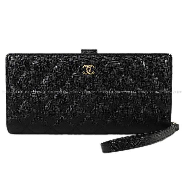 2147025d18f2 CHANEL シャネル マトラッセ ストラップ付 二つ折 財布 クラッチ ウォレット バッグ 黒.