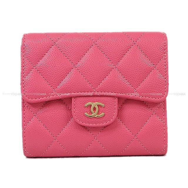 f64837ee1aee CHANEL シャネル マトラッセ コンパクト 三つ折り 財布 ピンク キャビアスキン A82288 新品.